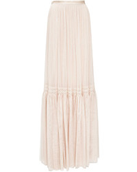 Rose beige lace tulle maxi skirt medium 576006