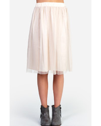 Beige Tulle Midi Skirt