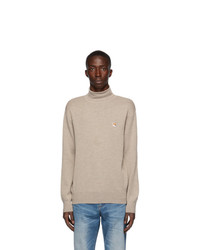 MAISON KITSUNÉ Beige Merino Fox Head Sweater