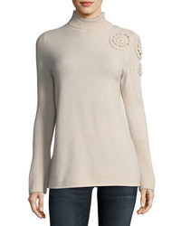 Neiman Marcus Cashmere Collection Asymmetric Crochet Shoulder Cashmere Turtleneck