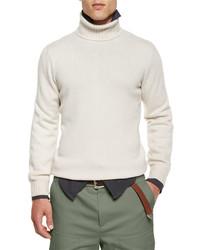 Brunello Cucinelli Cashmere Turtleneck Sweater Cream