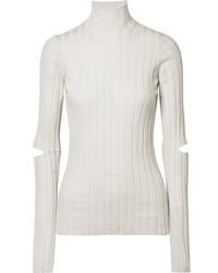 Helmut Lang Cutout Ribbed Wool Turtleneck Sweater
