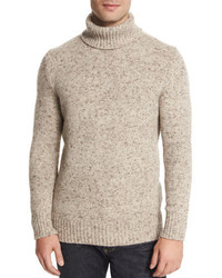 Marled Cashmere Turtleneck Sweater Neutral