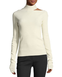 Tieback high neck long sleeve sweater medium 4948662