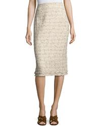 Lafayette 148 New York Priscilla Tweed Pencil Skirt Beige