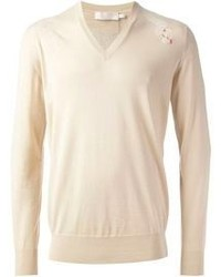 Alexander McQueen V Neck Embroidered Sweater