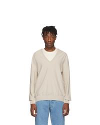 Maison Margiela Beige And Off White Spliced V Neck Sweater