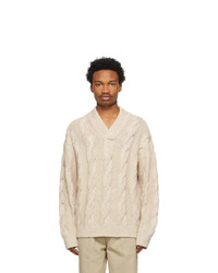 Acne Studios Beige Cable Knit V Neck Sweater