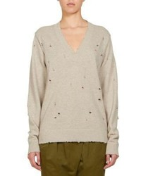 Givenchy Distressed V Neck Cashmere Sweater