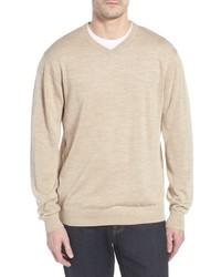 Cutter & Buck Douglas Merino Wool Blend V Neck Sweater
