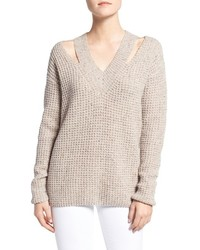 Draco waffle knit shoulder cutout sweater medium 801884