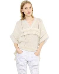Isabel Marant Fringed Short Sleeve Cotton Sweater
