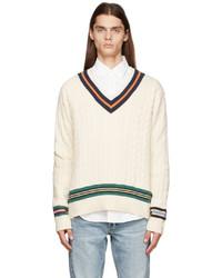 Polo Ralph Lauren Off White Cricket V Neck Sweater