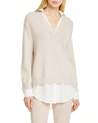 Brochu Walker Wool Cashmere Layered Pullover