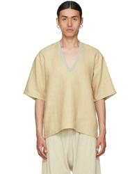 Bless Yellow Linen V Neck T Shirt