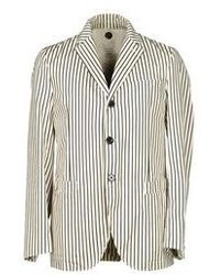 Beige Vertical Striped Blazer