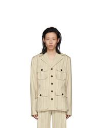 Palomo Spain Off White Striped Safari Jacket