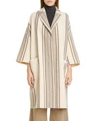 Beige Vertical Striped Coat