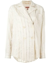Beige Vertical Striped Dress Shirt