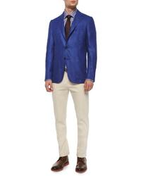 Kiton Grand Bold Stripe Dress Shirt Bluebrown