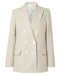 Racil Casablanca Double Breasted Pinstriped Linen Blazer