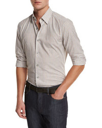 Ermenegildo Zegna Melange Striped Sport Shirt Tan