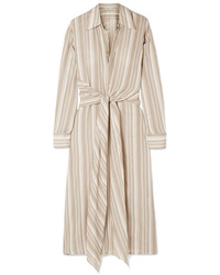 Acne Studios Daniela Tie Embellished Striped Cotton Voile Midi Dress