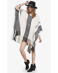 Express striped fringed poncho medium 243801
