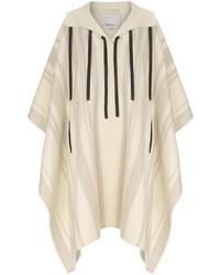 3.1 Phillip Lim Ivory Stripe Wool Hooded Poncho