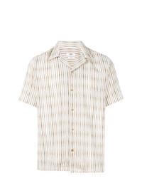 Beige Vertical Striped Short Sleeve Shirt