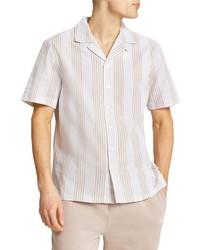 River Island Stripe Seersucker Short Sleeve Button Up Shirt