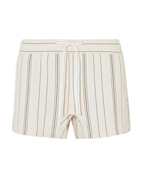 See by Chloe Striped Cotton Blend Canvas Shorts