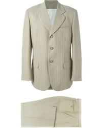 Beige Vertical Striped Suit