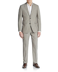 Saks Fifth Avenue Trim Fit Striped Wool Silk Suit