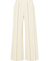 See by Chloe Pinstriped Cotton Blend Wide Leg Pants
