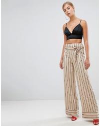 Missguided Wide Leg Stripe Trousers In Nude