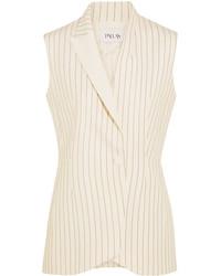 Pallas Satin Trimmed Grain De Poudre Wool Vest Cream