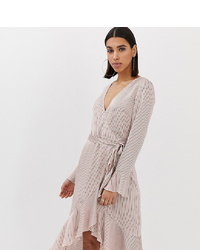 Missguided Wrap Front Dress With Frill In Pink Stripe
