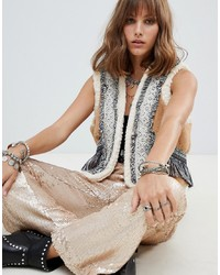 Native Rose Cropped Gilet With Faux Fur And Fringing Panels
