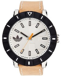 adidas Adh2999 Amsterdam Stainless Steel Watch With Beige Leather Band