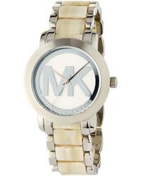 MICHAEL Michael Kors Michl Michl Kors 38mm Round Logo Bracelet Watch Silverbeige