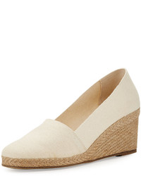 Andr Assous Pamela Canvas Wedge Pump Natural