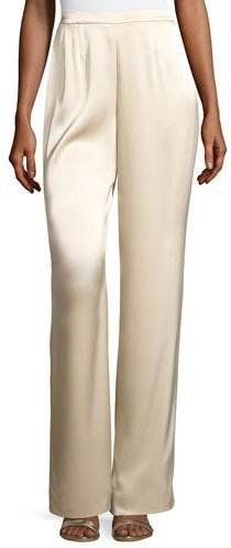 St. John Collection Liquid Satin Wide Leg Pants Champagne