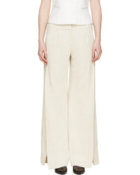 Maiyet Beige Wide Leg Slit Trousers
