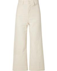 Apiece Apart Merida Cropped Cotton Canvas Wide Leg Pants