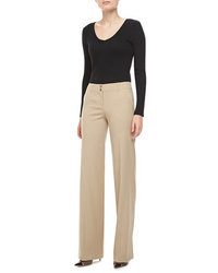 Michael Kors Gabardine Wide Leg Pants Hemp Michl Kors