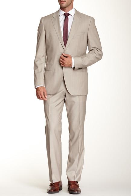 224d1b425 ... Hugo Boss James Medium Beige Sharkskin Two Button Notch Lapel Wool Trim  Fit Suit ...