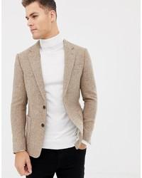ASOS DESIGN Slim Blazer In 100% Wool Harris Tweed In Camel