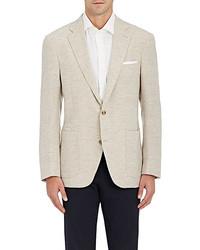 Luciano Barbera Wool Chevron Weave Two Button Sportcoat Tan
