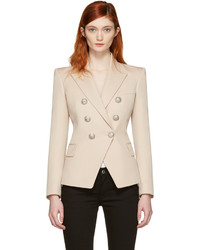 Beige double breasted blazer medium 1250342